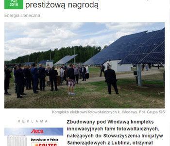"""Kompleks farm SIS z prestiżową nagrodą """"Ekolaury 2016"""" Polskiej Izby Ekologii."""